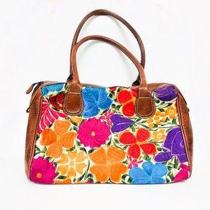 Vintage embroider floral faux leather purse